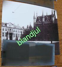 plaque verre + Photo bruges Belgique 1919 hotel de ville