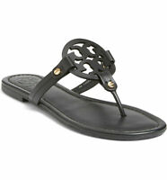NWT TORY BURCH Miller Sandal Classic Logo Slipper Thong Black Leather 50008694