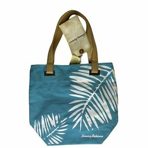 NWT Tommy Bahama Palm Leaf Tote Bag Aqua Canvas Leather THW7109 Beach Travel