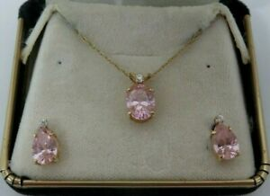 """Gorgeous 14K Yellow Gold Pink Sapphire and Diamond 18"""" Necklace Matching Earring"""