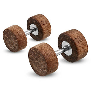 Organic Natural Wood Illusion Steel Faux Fake Cheater Ear Plugs Gauge, Pair