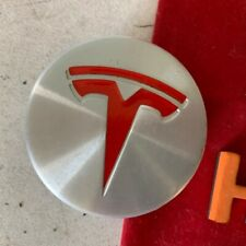 #H Tesla Model S/3/X Wheel Rim Center Hub Cap Cover Silver & Red 6005879-00-A