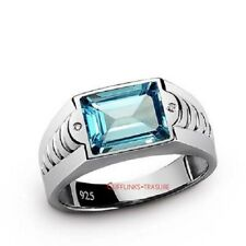 Natural Blue topaz Gemstone With 925 Sterling Silver Ring For Men's