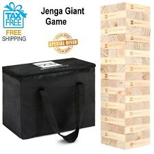 Best Choice Products Giant Wooden Tumbling Blocks Stacking Game W/ Carrying Bag