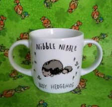 H & M Baby Hedgehog Mug Cup White ceramic nibble nibble two handles looks nice