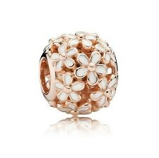 S925 EURO Charm 14K Rose Gold PL White Darling Daisy Meadow by Pandora's Angels