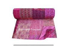 Boho Decorative Silk Kantha Stitched Bedspread Indian Queen Quilts Throw Gudri