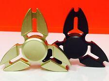 2 Pcs (BLACK & GOLD) Fidget Spinner Metallic Brass , Retail Package. USA Seller