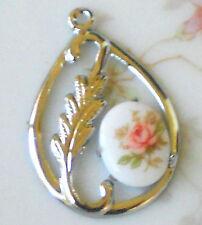 Vintage Leaf Charms, Connectors Silver Limoges Art Nouveau Pear Drops #1344H