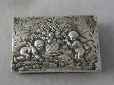 ANTIQUE SCHLEISSNER  HANAU 800 SILVERS CHERUBS & FRUIT BASKET MATCH BOX HOLDER
