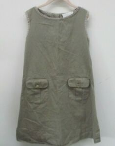 Senorita Lemoniez Girls Dress Jumper Size 10 Khaki Sleeveless Pockets