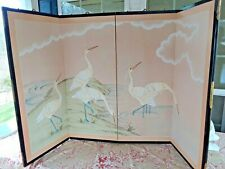 HAND PAINTED  4 PANEL CRANES DESIGN ROOM DIVIDER