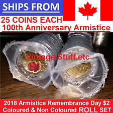 2018 Canada $2 Armistice FULL ROLL SET Coloured Non Colored Rememberance Poppy