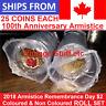 2018 Canada $2 Armistice FULL ROLL SET Coloured Non Colored Rememberance Poppy