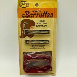 "Vintage 1980s Goody Ribbon Barrettes 2.25"" Braid Metal NOS Cheerleader POM"