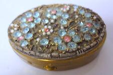 Vintage Vanity Rhinestone Jeweled Compact Hand Mirror