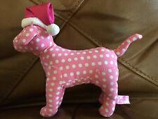 "Victorias Secret PINK Santa Christmas Hat DOG 7"" White Polka Dot Plush"