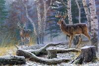 Art Giclee Print Winter Mule Deer Landscape Oil painting Printed on canvas P659