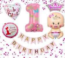 1st Happy Birthday Baby Girl Folienballon Erster Geburtstag Mädchen Ballons 1 Ja