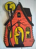 Vintage H.E. Luhrs Halloween Diecut Embossed Haunted House 1950's
