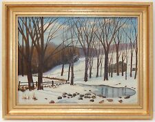 Mid Century Oil Painting on Board  FH Dygert 1951 Winter Trees Pond Gilt Frame