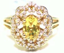 1.61CT 14K Gold Natural Yellow Beryl White Diamond Vintage Engagement Ring Deco