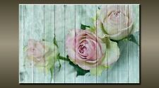 "LARGE PINK WHITE ROSE FLOWER VINTAGE CANVAS WALL PICTURE FLASH ART 30"" 20"" 0377"