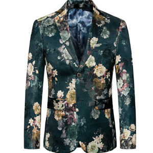 Mens Size Plus Blazer Two Button Slim Fit Printing Floral V-Neck Casual Business