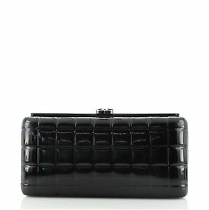 Chanel Chocolate Bar Frame Clutch Quilted Patent