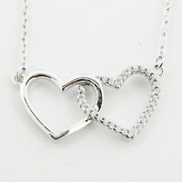 """Womens Sterling Silver 925 Ladys Heart Pendant 18"""" Necklace Chain Love Gift"""