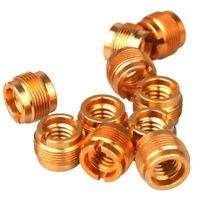 "5Pcs/Set MicrophoneMic Screw Clip Thread Adaptor 3/8"" To 5/8"" Connector Golden"