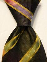 HUGO BOSS Men's 100% Silk Necktie ITALY Luxury STRIPED Green/Multi-Colored EUC
