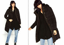 ZARA Long Quilted Padded Down Hiver Coat JACKET tampon doudoune Hood pour S