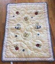 Eddie Bauer Home Baby Quilt Cover Blanket Yellow Bee Butterfly Lady Bug Chenille