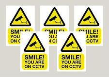 5 Smile you're on CCTV camera stickers signs decals 150mm x 100mm Free 1st class