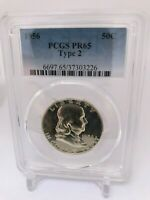 PR65 1956 TYPE 2 PCGS GRADED FRANKLIN 90% SILVER HALF DOLLAR 50C PROOF RARE COIN