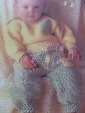 Knitting Pattern Baby Girl Boy Jumper Trouser Set Easy DK 3-12 Months Vintage