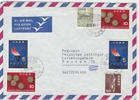 japan 1964 airmail stamps cover  ref 10137