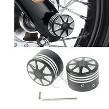 Black Edge Cut Front Axle Nut Cover Bolt Kit For Harley Touring Softail XL VRSC