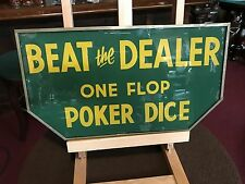 "1940's BEAT THE DEALER Casino DICE Reverse Glass Sign 18"" Sign ""Watch Video"""