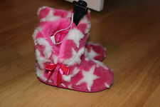 BNWTS GIRLS  Bongo FAUX FUR  Slippers SMALL 11 - 12 PINK & WHITE