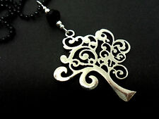 """A LOVELY TREE OF LIFE PENDANT BLACK BALL CHAIN NECKLACE.  26"""" LONG. NEW."""