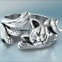 Silber Cute Cat verstellbarer Ring Silber Ehering Ringe Damen Schmuck Geschenke