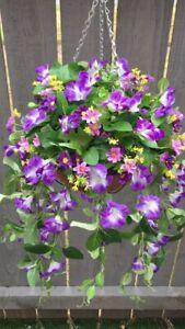 Beautiful  Purple/ Lilac Artifical Trailing Hanging Basket Ready To Hang
