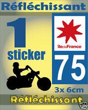 1 Sticker REFLECHISSANT département 75 rétro-réfléchissant immatriculation MOTO