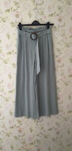 Women's Palazzo Pants Belted Wide Leg Trousers By New look Size 8.