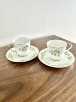 Set of 2 Mikasa Just Flowers Flowers Bone China Coffee/ Tea Cups With Saucers