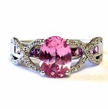 10k white gold .14ct SI2 H womens diamond gemstone pink topaz ring band 3.7g 7