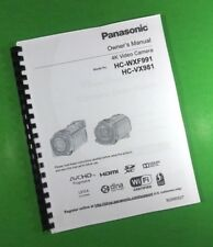 """LASER 8.5 x 11"""" Panasonic HC-WXF991 WXF881 Video Camera 262 Page Owners Manual"""