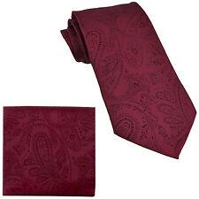 New Men's Polyester Woven Neck Tie necktie & hankie set paisley Burgundy prom